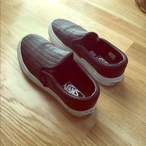 Vans black embossed weave slip-on sneakers
